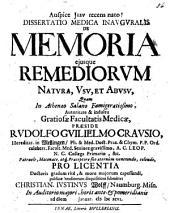 Diss. med. inaug. de memoria, eiusque remediorum natura, usu et abusu