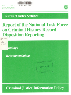 Report of the National Task Force on Criminal History Record Disposition Reporting PDF
