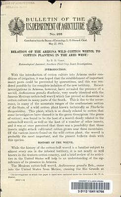 Relation of the Arizona Wild Cotton Weevil to Cotton Planting in the Arid West