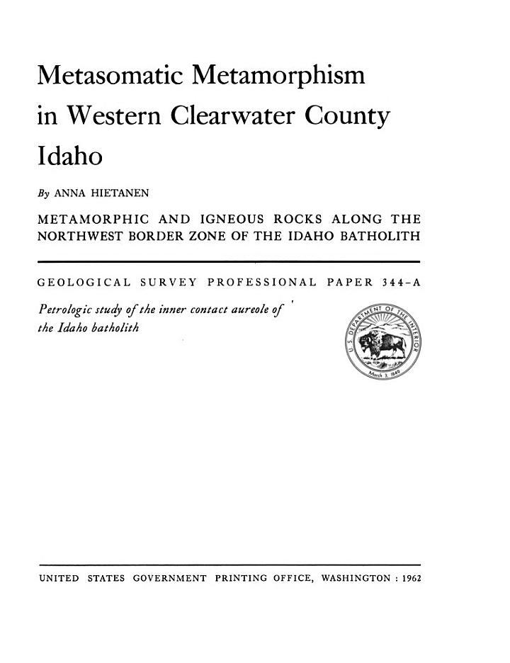 Metasomatic Metamorphism in Western Clearwater County, Idaho