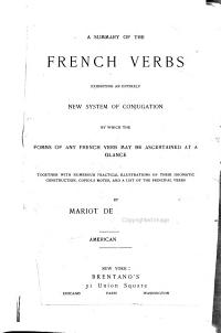 A Summary of the French Verbs