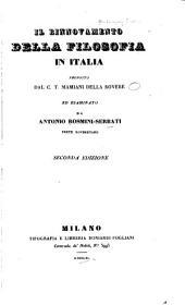 Il rinnovamento della filosofia in Italia proposto dal C. T. Mamiani Della Rovere ed esaminato