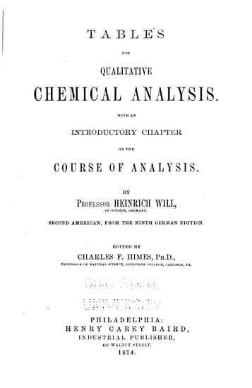 Tables for Equalitative Chemical Analysis PDF