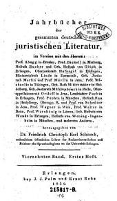 Jahrbücher der gesammten deutschen juristischen Literatur: Band 14