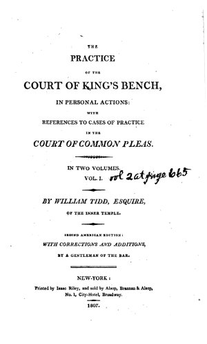 The Practice of the Court of King s Bench  in Personal Actions