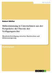 Mitbestimmung in Unternehmen aus der Perspektive der Theorie der Verfügungsrechte: Mitarbeiterbeteiligung zwischen Machtverlust und Effizienzsteigerung