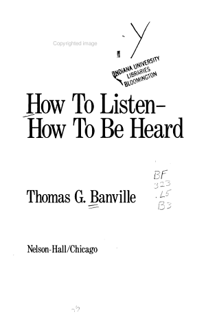 How to Listen  how to be Heard PDF
