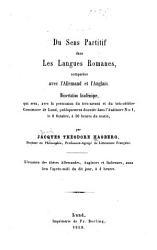 Du sens partitif dans les langues romanes  compar  es avec l allemand et l anglais PDF