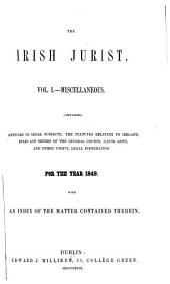 The Irish Jurist: Volume 1