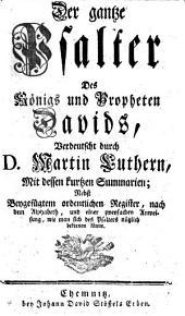 Der gantze Psalter Des Königs und Propheten Davids
