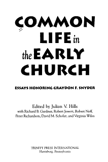 Common Life in the Early Church Book