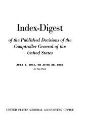 Index digest of the published decisions of the Comptroller General of the United States: Volume 951, Issue 56