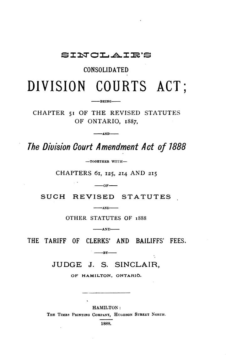Sinclair's Consolidated Division Courts Act