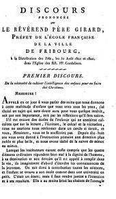 Discours prononcé par le révérend père Girard, préfet de l'Ecole française de la ville de Fribourg, à la distribution des prix, les 30 août 1821 et 1822, dans l'Eglise des RR. PP. Cordeliers