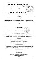 Proceedings and Debates of the Virginia State Convention of 1829 1830 PDF