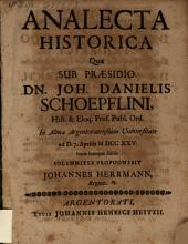 Analecta historica