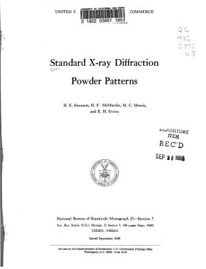 Standard X ray Diffraction Powder Patterns PDF