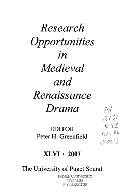 Research Opportunities in Medieval and Renaissance Drama PDF
