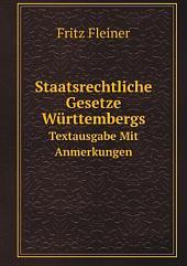 Staatsrechtliche Gesetze W?rttembergs