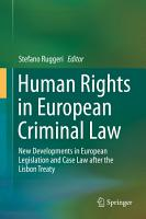 Human Rights in European Criminal Law PDF
