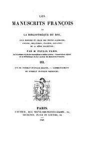 Les manuscrits françois de la Bibliothèque du roi: Volume3