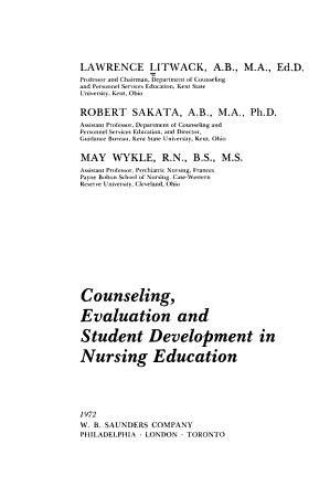 Counseling  Evaluation  and Student Development in Nursing Education PDF