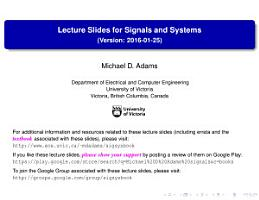 Lecture Slides for Signals and Systems  Version  2016 01 25  PDF