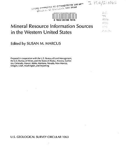 Mineral Resource Information Sources in the Western United States PDF