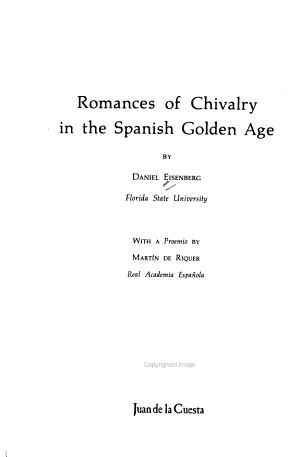 Romances of Chivalry in the Spanish Golden Age