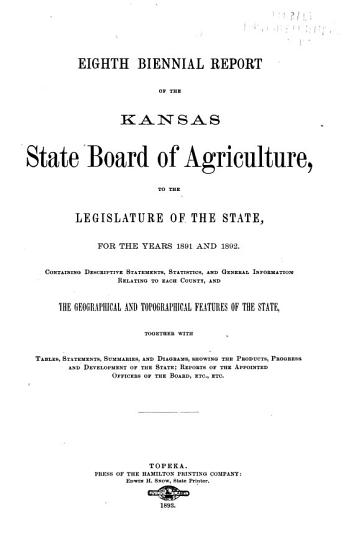 Quarterly Report of the Kansas State Board of Agriculture  for the Quarter Ending     PDF