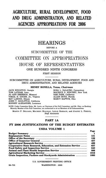 Agriculture  Rural Development  Food and Drug Administration  and Related Agencies Appropriations For 2006  Part 1A  109 1 Hearings     PDF