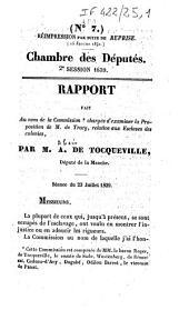 Chambre des députés. 2e session 1839. Rapport fait au nom de la commission chargée d'examiner la proposition de M. de Tracy, relative aux esclaves des colonies