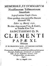 Memoriale et summarium novissimorum testimoniorum Sinensium in prosecutione Causae Sinen