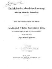 Ein jahrhundert chemischer forschung unter dem schirme der Hohenzollern ...