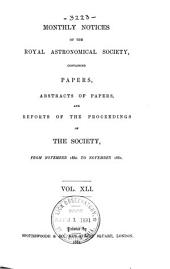 Monthly Notices of the Royal Astronomical Society: Volume 41