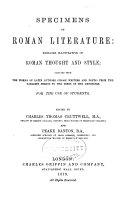 Specimens of Roman Literature