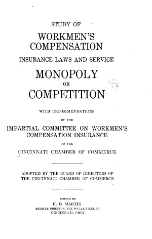 Study of Workmen's Compensation Insurance Laws and Service