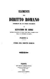 Elementi del diritto romano considerato nel suo storico svolgimento