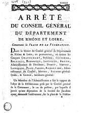 Arrêté du Conseil général du département de Rhône et Loire concernant la place de la Fédération (debris du cheval de bronze, bassins et arbres de Bellecour). (Fait au Conseil général de Rhone & Loire le 27 Avril 1793)