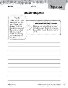 How to Eat Fried Worms Reader Response Writing Prompts Book