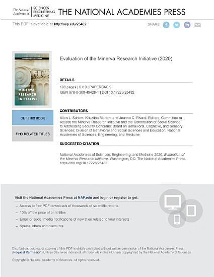 Evaluation of the Minerva Research Initiative PDF