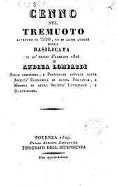 Cenno sul tremuoto avvenuto in Tito, ed in altri luoghi della Basilicata il di primo Febbraio 1826 di Andrea Lombardi ..