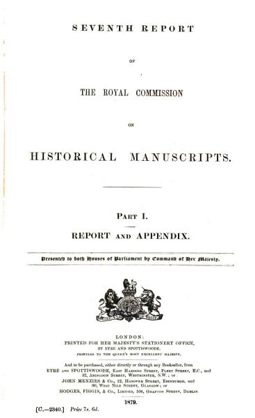 Download Report of the Royal Commission on Historical Manuscripts Book