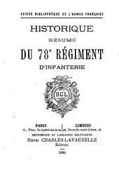 Historique résumé du 78e (soixante-dix-huiteme) régiment d'infanterie