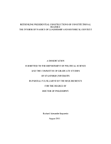 Rethinking Presidential Constructions of Constitutional Regimes PDF