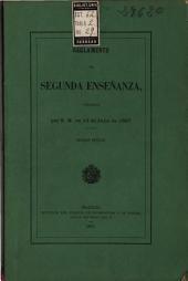 Reglamento de Segunda Enseñanza: aprobado por S.M. en 15 de julio de 1867