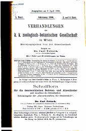 Verhandlungen der Zoologisch-Botanischen Gesellschaft in Wien: Volume50,Numéros1à4