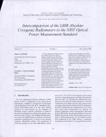 Intercomparison of the LBIR Absolute Cryogenic Radiometers to the NIST Optical Power Measurement Standard PDF