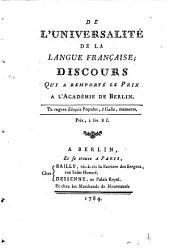 Discours de l'Universalité de la langue Française