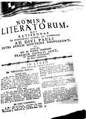 Nomina literatorum, qui Ratisbonae in Regio Bavarico Lyceo et Gymnasio ad Divi Pauli intra annum doctrina eminuerunt, et eorum, qui in eodem gymnasio praemiis donati sunt et proxime accesserunt: 1787